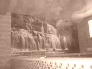 Натяжной потолок в бассейне с фотопечатью
